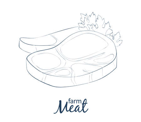 Meat icon. Cartoon vector food illustration. Hand drawn linear illustration on white background