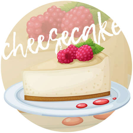 Cheesecake with raspberry icon. Cartoon vector illustration. Series of berry desserts on gradient circle background