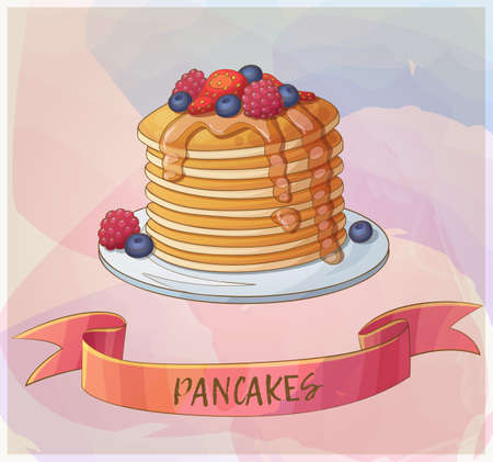 Pancakes with berries icon.