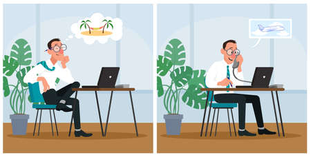 Office worker dreaming about vacation and booking tickets on plane. Cartoon vector illustration