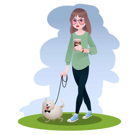 Stylish girl walking with her pet dog