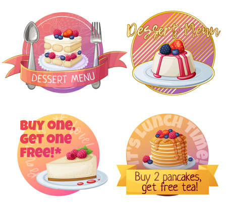 Set of berry dessert labels, cartoon vector illustration