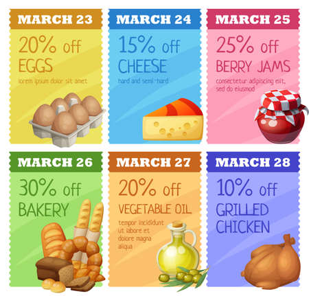 Grocery banners set vector design. Concept of advertising flyer with food icons