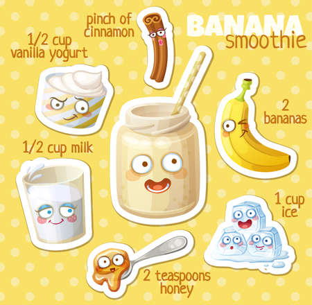 Smoothie recipe illustration with funny characters. Milkshake ingredients cartoon vector icons
