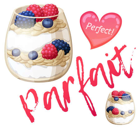 Parfait dessert with berries icon. Cartoon vector illustration isolated on white background. Series of food and drink and ingredients for cooking Illustration