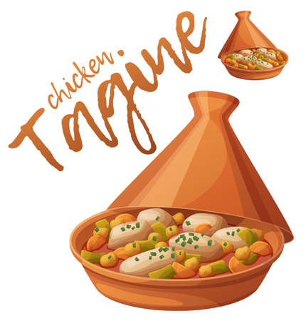 Tagine with chicken meat and vegetables icon. Cartoon vector food illustration isolated on white background. Series of food and drink and ingredients for cooking