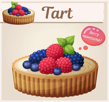 Tart dessert with berries icon. Cartoon vector illustration
