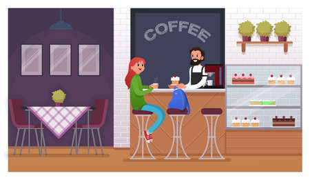 Cafe casual interior with people. Flat vector illustration. Customer with a cup of coffee
