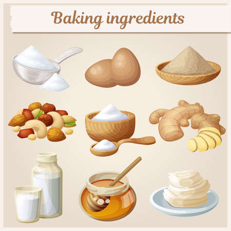 Baking ingredients cartoon vector icons set. Collection of cooking illustrations eggs, nuts, yeast, sugar, milk, powder, honey, Illustration
