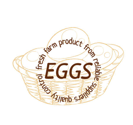 Eggs basket hand drawn linear illustration.Cartoon vector hand drawn illustration on white background. Brown vintage sketch label image 矢量图像