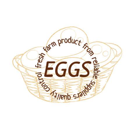Eggs basket hand drawn linear illustration.Cartoon vector hand drawn illustration on white background. Brown vintage sketch label image Illustration