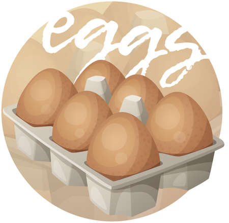 Eggs in carton illustration. Cartoon vector icon on beige gradient background