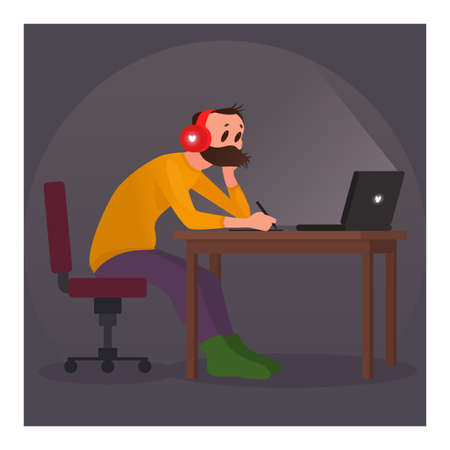 Man working at home with notebook. Cartoon vector illustration 矢量图像