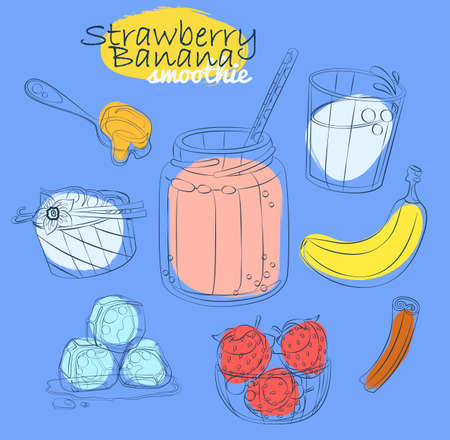 Smoothie recipe illustration with banana, strawberry, milk, honey, yogurt, cinnamon. Milkshake ingredients cartoon vector icons Hand drawn linear illustration on blue background