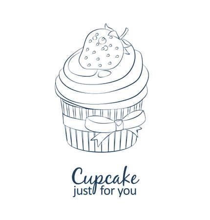 Strawberry cupcake dessert icon. Cartoon vector linear black and white illustration