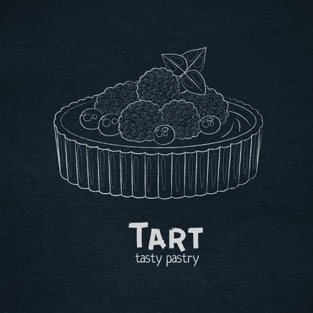 Tart dessert with berries icon. Outline vector icon. Linear art white chalk on black desk
