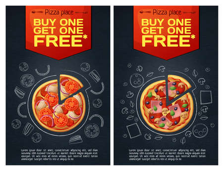 Menu fastfood flyer with pizza icon on chalkboard background vertical format. Cartoon vector illustration