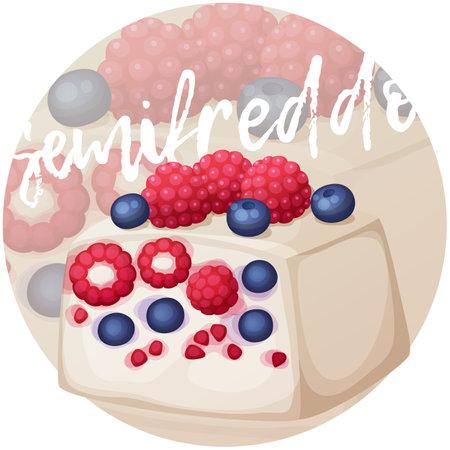 Mixed berries semifreddo icon. Cartoon vector illustration on gradient background