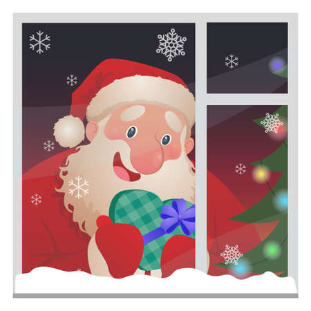 Happy cute Santa Claus character in the window with a gift box in hands. Cartoon vector illustration for Christmas