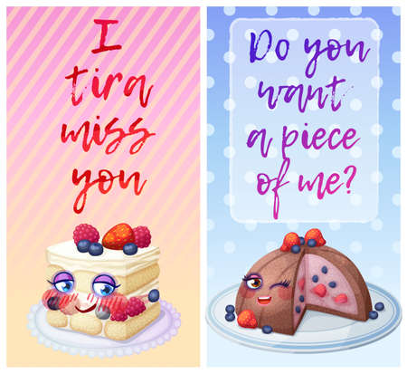 Cute food characters with funny flirty quotes 矢量图像
