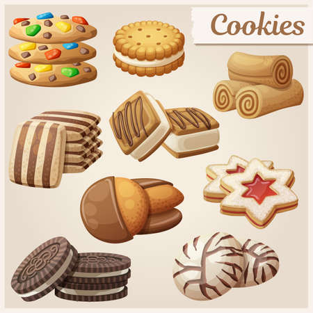Set of delicious cookies. Cartoon vector illustration. Food sweet icons