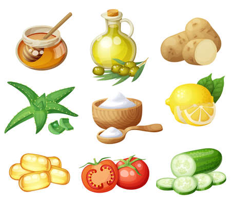 Facial mask ingredients for home face skin care. Cartoon vector food icons set