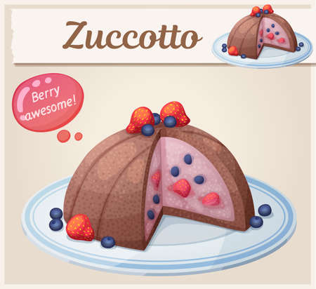 Zucotto dessert with berries icon. Cartoon vector illustration of frozen cake with strawberries and blueberries 矢量图像