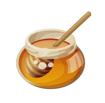 Jar of honey and stick. Cartoon vector icon isolated on white