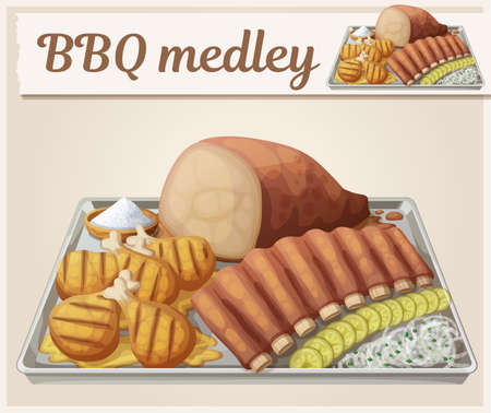 Texas BBQ medley icon. Cartoon vector illustration of barbecue meat on tin tray with white onions and gerkins. Series of food and drink and ingredients for cooking 矢量图像