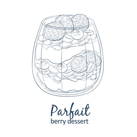 Parfait dessert with berries icon. Hand drawn vector illustration black and white colors 矢量图像