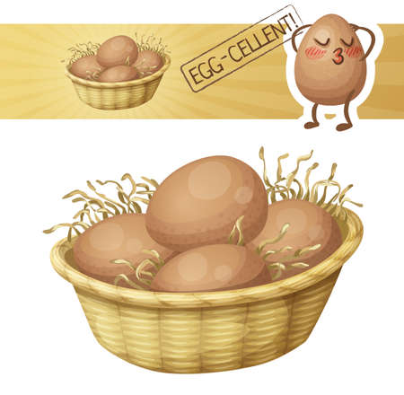 Chicken eggs in basket icon. Vector illustration with cute cartoon egg charatcer