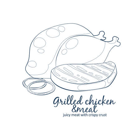 Grilled chicken and meat icon. Vector picture of barbecue meat. Hand drawn linear illustration on white background 矢量图像