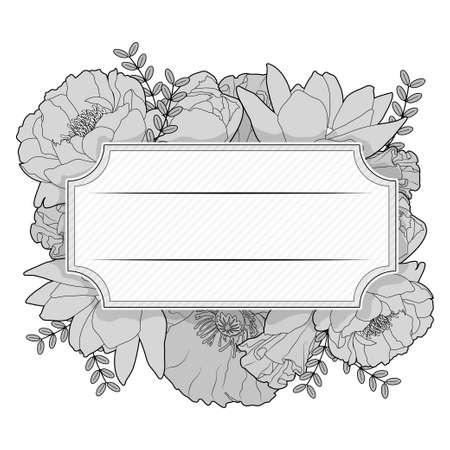 Floral black and white vintage label. Wedding invitation vector design
