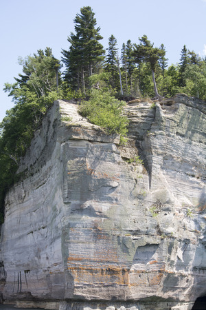 Pictured Rocks - rock face trees