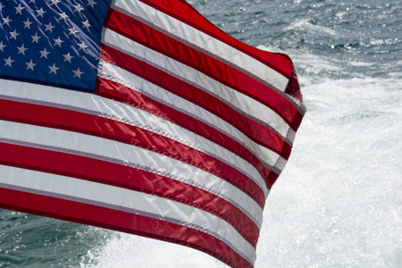 Flag over water