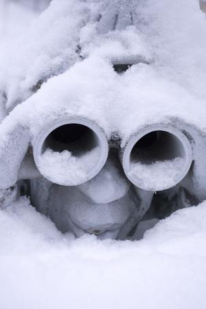 funny birdhouse with snow Stock Photo