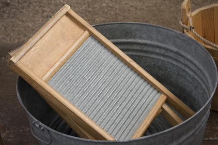 washboard: washboard in washtub