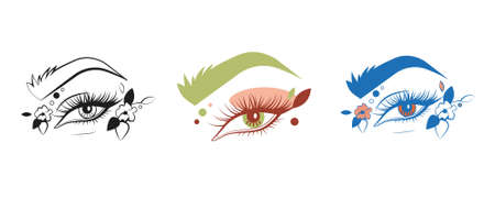 Eye illustrations in different colours