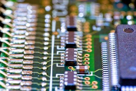 Electronic circuit board. Macro photo