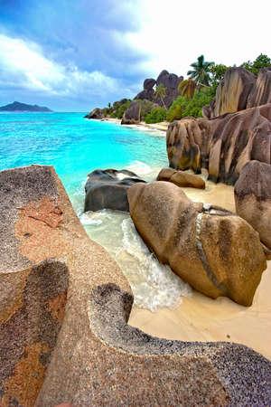 ladigue: LaDigue beach Stock Photo
