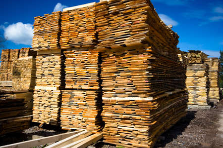 lumber collection on blue sky as background