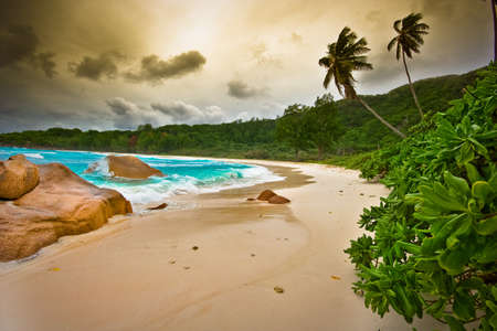 the beach with white sand on seychelles Stock Photo