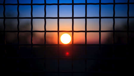 view on sunset through a cell Stock Photo - 5474908