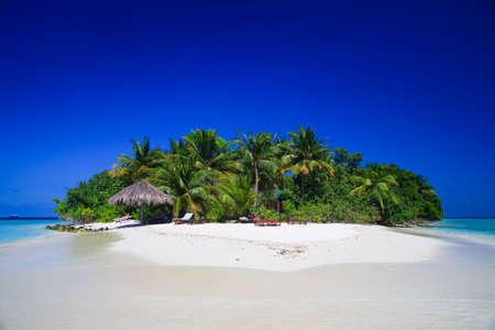 Tropikalna raj na Malediwach z palmy i błękitne niebo Zdjęcie Seryjne