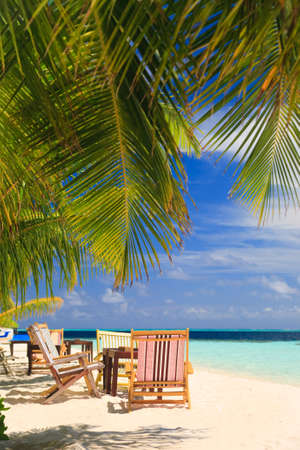 Relaxing on tropical paradise with white sand at Maldives and green palms with blue sky Banco de Imagens - 5892010