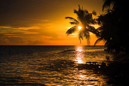 Maldivian Sunset image with nice color Stock Photo