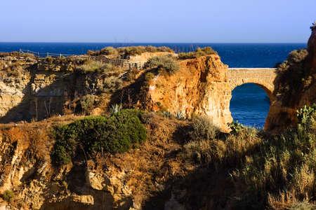 brich: Algarve rock - coast in Portugal, brich in the evining