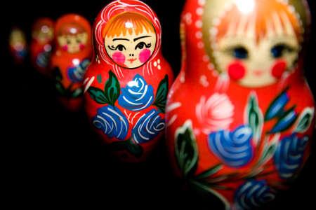 babushka: Russian national babushka matroschka on black background Stock Photo