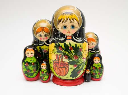 russian matryoshka doll on white background photo