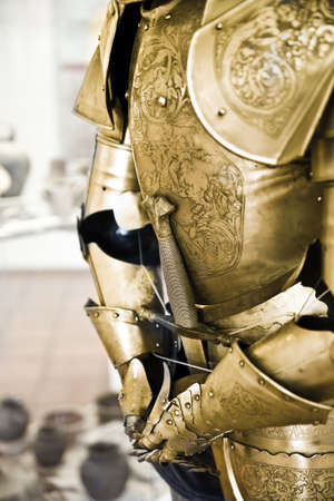 shiny suit: One natural old textured knight armor Stock Photo